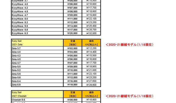 ▶ 2021 Ezzy Sail【価格表】